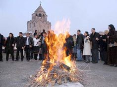 The festivity of Trndez. A festivity to worship sun/fire in ancient pre-Christian Armenia. The festivity symbolizes spring and fertility. Newly-weds jump over the fire,