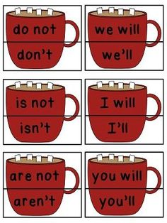 Hot cocoa contractions matching activity and other cute winter math literacy centers Literacy Worksheets, Grammar Activities, Math Literacy, Learning Activities, Reading Stations, Literacy Stations, Literacy Centers, Art Centers, Writing Centers