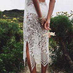 """""""Lacey details on our Luna Maxi Dress  #forloveandlemons"""""""