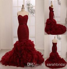 Wholesale Dresses - Buy Burgundy Backless 2014 Cheap Red Bling Sweetheart Mermaid Vintage Lace Up Bidal Dress Long Tulle Wedding Dresses Ball Gowns Crystal Tiered, $195.03 | DHgate