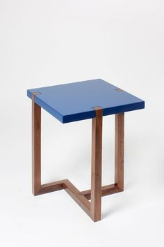 Portuguese designer Hugo Passos Piet Side Table Blue for Wallpaper* Funky Furniture, Furniture Making, Wood Furniture, Furniture Design, Furniture Online, Office Furniture, Cool Chairs, Furniture Inspiration, Upholstered Chairs