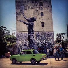 JR + José Parla Mural in Havana. I want to go to Cuba! Murals Street Art, Street Art Graffiti, Urban Graffiti, Going To Cuba, Best Street Art, Havana Cuba, Cinema, Street Artists, Types Of Art