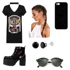 Rocker Chic by himani3446 on Polyvore featuring polyvore, WearAll, T.U.K., Ray-Ban, Casetify, fashion, style and clothing