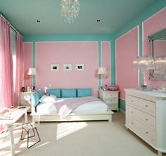 Rose Blue And Pink Bedroom Walls Rooms Bedrooms