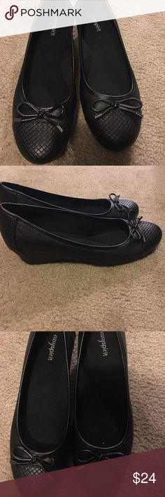 Black shirt wedge shoes Super cute low height wedge dress shoes. They have never been worn I just don't have the box Easy Spirit Shoes Wedges