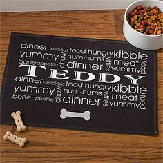 "How cute! It's a ""Meal Mat"" that you can personalize for your dog! What a cute way to protect the wood floor from scratches ... and it's only $21.95! #Dog #Pets"