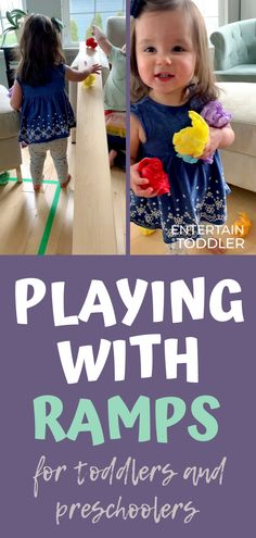 Exploring ramps is a simple STEM activity toddlers and preschoolers will enjoy doing over and over. Build a ramp today with materials you have at home and check out this post for tips and ideas on playing with ramps with a toddler or preschooler. #EntertainYourToddler #stemlearning #learningthroughplay #openendedplay #indooractivities #activitiesforkids