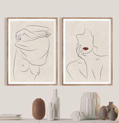Mid Century Modern Nude Minimalist Wall Art Minimalist Woman | Etsy