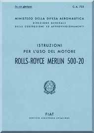 Rolls Royce Packard FIAT Motori Aviazione Merlin 500-20  Aircraft Engine Instruction  Manual,    ( Italian Language )