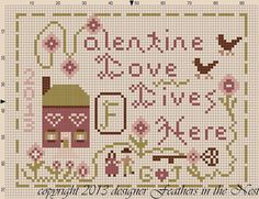 Feathers in the Nest: A Valentine small sampler freebie~~Valentine Love
