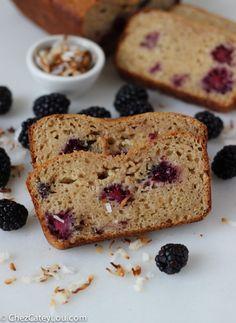 Healthy Blackberry Coconut Yogurt Bread | http://chezcateylou.com/2014/02/08/healthy-blackberry-coconut-yogurt-bread