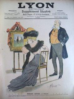 DESSIN ILLUSTRATION DE PREJELAN LE PARVENU COSTUME CHAPEAU LYON REPUBLICAIN 1905