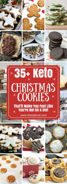 36 Keto Christmas Cookies That'll Make You Feel Like You're Not on a Diet - Melissa K. - 36 Keto Christmas Cookies That'll Make You Feel Like You're Not on a Diet Keto Christmas cookies for the perfect keto holiday treats - Low Carb Sweets, Low Carb Desserts, Low Carb Recipes, Fast Recipes, Yummy Recipes, Vegan Recipes, Keto Cookies, Keto Holiday, Holiday Recipes