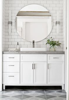 Add simple legs to bathroom vanity Bathroom Stuff, Master Bathroom, Narrow Bathroom, Small Bathroom Tiles, Bathroom Designs, White Vanity Bathroom, Bathroom Vanities, Diy Bathroom Remodel, Bathroom Towels
