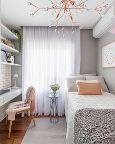 Tiny Bedroom Design, Small Room Design, Small Room Bedroom, Room Ideas Bedroom, Small Rooms, Modern Bedroom, Bedroom Decor, Contemporary Bedroom, Small Spaces