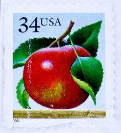 postage stamp USA 34c - red apple