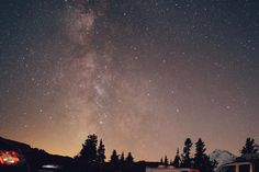 stars, galaxy, space, astronomy, night, dark, evening, nature, trees, camping, outdoors