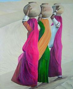 Water Carriers – Swaze, Oil Pastellist Oil Source by tinoutom Images D'art, Rajasthani Painting, Afrique Art, Indian Folk Art, Indian Artist, Art Premier, Indian Art Paintings, India Art, Art Et Illustration