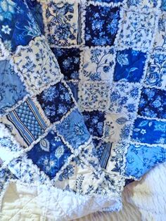 Rag Quilt Blue and White Floral Shabby Chic Large by PandJCrafts, $160.00