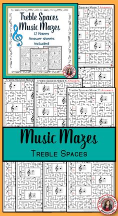 MUSIC GAMES TREBLE SPACES MUSIC MAZES • This file contains 12 music mazes based on the pitch of the treble spaces. ♫ CLICK through to read more or save for later! ♫