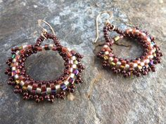 Earrings in Bronze Copper Peach Seed Beads by SierraBeader on Etsy, $38.00
