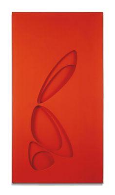 Paolo Scheggi, Intersuperficie curva dal rosso+giallo, 1965, (PS 0023), acrylic on overlapping canvas, 150 x 80 x 7 cm, Private Collection
