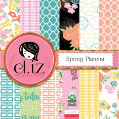 Spring digital paper, spring planner featuring floral blooms, planner icons, geometric brights, positive affirmations for spring!