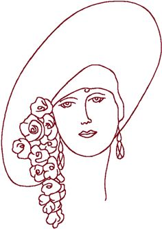 Machine Embroidery Ideas Redwork Flapper in Floral Hat Embroidery Design - Hat Embroidery, Paper Embroidery, Embroidery Transfers, Hand Embroidery Patterns, Vintage Embroidery, Cross Stitch Embroidery, Machine Embroidery Designs, Embroidery Sampler, Red Work Embroidery