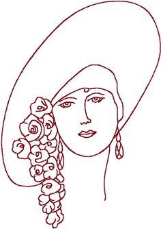 Redwork Flapper in Floral Hat Embroidery Design