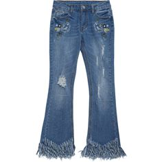 Distressed Embroidered Cutoffs Flared Jeans ($27) ❤ liked on Polyvore featuring jeans, pants, flare denim jeans, blue jeans, distressed flare jeans, denim jeans and cut off jeans