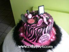 Adorable! #zebra #pink #cake #feathers #birthday