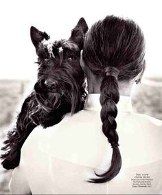 Ali McGraw and scottish terrier