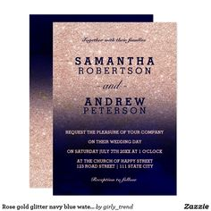 Rose gold glitter navy blue watercolor wedding card