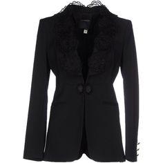 Class Roberto Cavalli Blazer (£454) ❤ liked on Polyvore featuring outerwear, jackets, blazers, black, long sleeve jacket, lace jacket, multi pocket jacket, black lace blazer and black long sleeve jacket