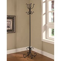 Kings Brand Furniture Copper Finish Metal Hall Tree Coat Jacket Purse Scarf Hat Rack Stand
