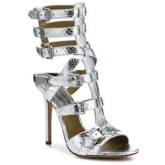 Michael Kors Collection Ming Metallic Snakeskin Gladiator Sandals ($595) ❤ liked on Polyvore featuring shoes, sandals, michael kors, silver, gladiator sandals shoes, roman sandals, greek gladiator sandals, snake skin sandals and mirror shoes