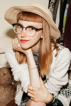 d341e017b35 Fashion Blogger Julia Frakes (Glasses  Linda Farrow Luxe) Straight Bangs