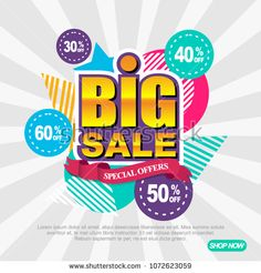 Big sale special offers with discount. Memphis geometry abstract colorful template, badge, label, tag, poster, ads, flyer, banner promotion. EPS 10 Vector illustration2