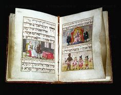 Book of blessings, from Vienna, 1724, painted by Aaron of Givitsch, who also painted the Vienna Haggadah. Prayers blessing god as creator of human diversity, are illustrated by a black man and three dwarfs. 17 leaves, watercolour on vellum, 8,4 x 6 cm   Library of the Jewish Theological Seminary, New York, USA