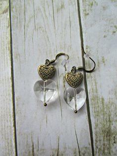 Bronze Heart Earrings, Valentine Earrings, Heart Earrings,Valentine Jewelry,Clear Heart Earrings,Earrings,Valentine Gifts,Mothers Day Gifts by BrownBeaverBeadery on Etsy