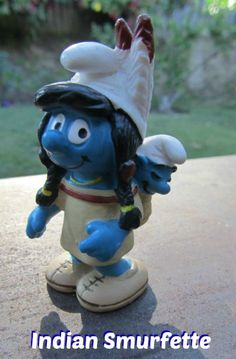 Rare Indian Smurf, Smurfette with Papoose from the Native American set.  Photo from KathyMcGraw.com