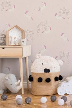 - Kids Wallpaper with Unicorns Floral Design in white and lilac with Glitter & Gloss How To Hang Wallpaper, Diy Wallpaper, Wallpaper Paste, Heart Wallpaper, Wallpaper Samples, Wallpaper Online, Designer Wallpaper, Tapete Beige, Wallpaper Manufacturers
