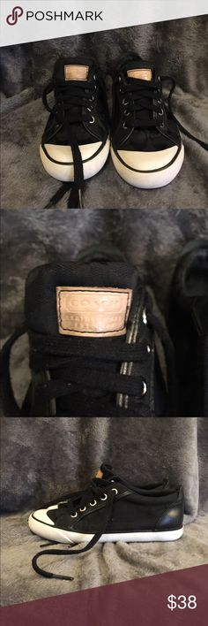 Black Coach signature pattern sneakers Black signature pattern Coach sneakers, good condition and gently used, wear is shown in picture, size 5.5, insoles have been replaced with ones that are padded and more comfortable. Coach Shoes Sneakers