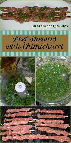 Beef Skewers with Chimichurri - Recipes I've Made Skewer Recipes, Meat Recipes, Meat Meals, Beef Flank Steak, Flank Steak Recipes, Meat Skewers, Fruit Skewers, Beef Strips, Cilantro Sauce