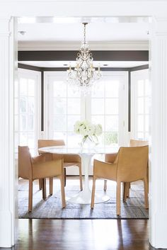 modern table and crystal chandelier