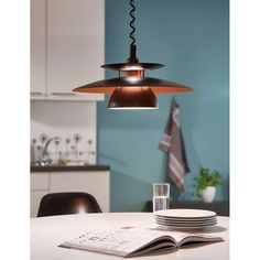 The Brenda pendant by Eglo Lighting features a layered metal shade and adjustable suspension by pulling the string cord. This modern, contemporary design will add character to any room and is also ideal for kitchen benchtops and dining room tables. Copper Pendant Lights, Black Pendant Light, Kitchen Pendant Lighting, Ceiling Pendant, Pendant Lamp, Kitchen Ceiling Lights, Black Lamps, Design Moderne, Led Lamp