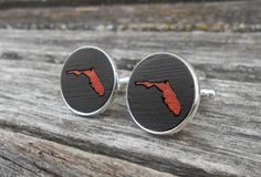Wood Inlay FLORIDA State Cufflinks. Laser by TreeTownPaper on Etsy