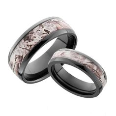Superb His and Hers Camo Ring Set Domed