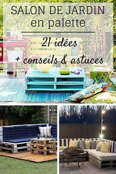 Salon de Jardin en Palette : 21 Idées à Découvrir (+ astuces & conseils)  http://www.homelisty.com/salon-de-jardin-en-palette/