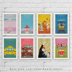 Wes Anderson Poster Set. Set of 8 Prints. Movie Art Prints.
